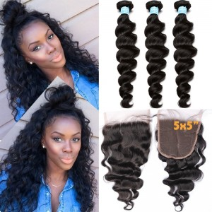 Brazilian Hair Weave Bundles With Closure 8A Loose Wave With Closure 3 Bundles Honey Queen Hair Products With Closure Bundle