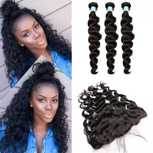 13x4 Lace Frontal Closure With Bundles 8A Brazilian Virgin Hair With Frontal Closure Bundle Loose Curly Wave Lace Frontal Weave