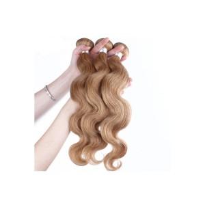 Color #27 Honey Brown Body Wave Brazilian Virgin Hair Weave 3pcs Buddles