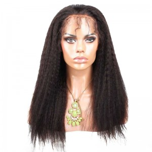 Natural Color Kinky Straight Peruvian Virgin Human Hair Full Lace Wigs