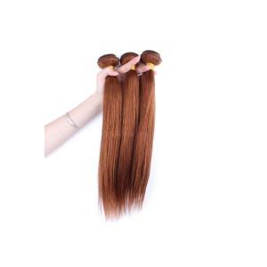 Color #30 Medium Brown Brazilian Virgin Hair Straight Hair Weave 3 Buddles
