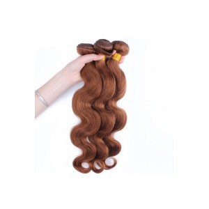 Color #30 Medium Brown Brazilian Virgin Hair Body Wave Hair Weave 3 Buddles