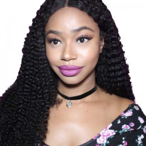 Kinky Curly Full Lace Human Hair Wigs Mongolian Virgin Hair Natural Color