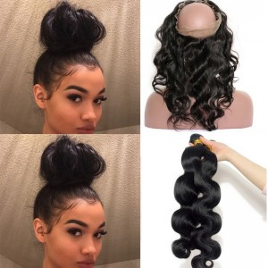 Pre Plucked 360 Lace Frontal Closure With 2 Bundles Brazilian Virgin Hair Body Wave 360 Lace Band