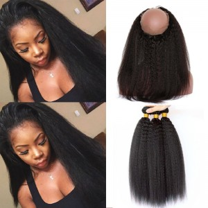 360 Frontal Closure With Two Bundles Brazilian Virgin Hair Kinky Straight 360 Lace Band Frontal Closure