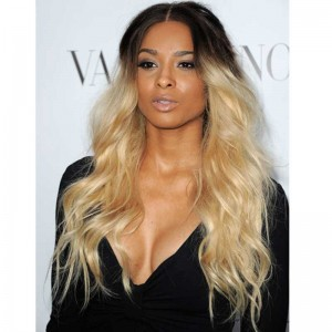 Ciara Inspired Ombre Blonde Color Wavy Full Lace Human Hair Wigs