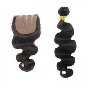 Malaysian Virgin Hair Body Wave Silk Base Closure With 3Pcs Hair Bundles Natural Color