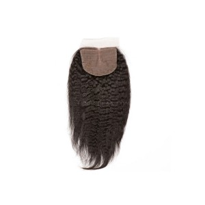 Natural Color Kinky Straight Brazilian Virgin Hair Silk Base Closure 4x4inches