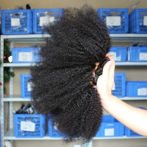 Natural Color Afro Kinky Curly Peruvian Virgin Human Hair Weave 3pcs Bundles