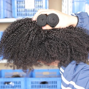 Indian Remy Human Hair Afro Kinky Curly Hair Weave Natural Color 3 Bundles