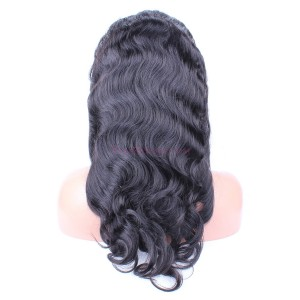 Natural Color Body wave Brazilian Virgin Human Hair Glueless Full Lace Wigs