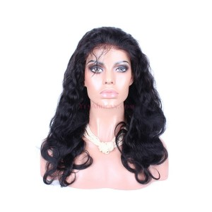 Natural Color Body wave Peruvian Virgin Human Hair Glueless Full Lace Wigs