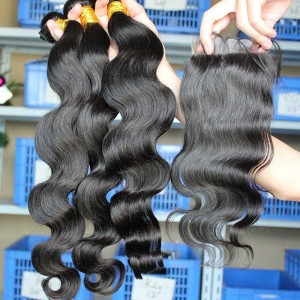 Peruvian Virgin Hair Body Wave Middle Part Lace Closure with 3pcs Weaves