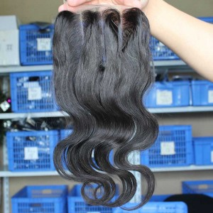 Natural Color Body Wave Brazilian Virgin Hair Three Part Lace Closure 4x4inches