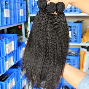 Natural Color Kinky Straight Malaysian Virgin Hair Weaves 3pcs Bundles