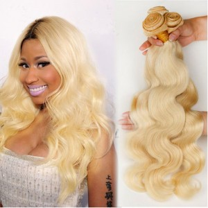 Platinum Blonde Virgin Hair #613 Color Body Wave Brazilian Virgin Human Hair Weave 3pcs Bundle