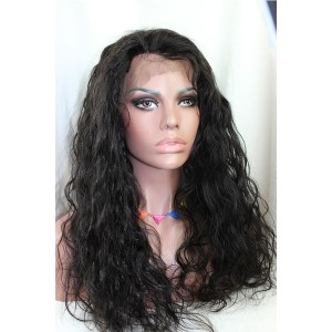 Natural Color Unprocessed Peruvian Virgin 100% Human Hair Body Wave Full Lace Wigs