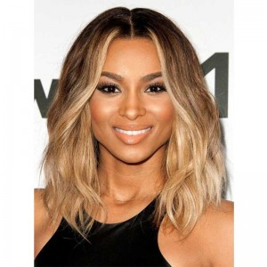Ciara Inspired Ombre Blonde Color Wavy Short Bob Lace Front Human Hair Wigs