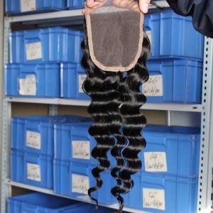 European Virgin Hair Deep Wave Free Part Lace Closure 4x4inches Natural Color