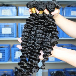 Indian Virgin Human Hair Extensions Deep Wave Human Hair 4 Bundles Natural Color