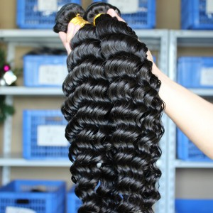 Natural Color Deep Wave Unprocessed Indian Virgin Human Hair Weave 3 Bundles