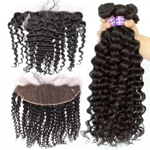 Natural Color Deep Wave Curly Peruvian Virgin Hair Lace Frontal Closure With 3Pcs Hair Weaves