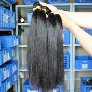 Natural Color Silk Straight Malaysian Virgin Human Hair Extensions 4 Bundles