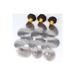 Brazilian Virgin Human Hair Ombre Hair Weave Color 1b/#Grey Body Wave 3 Bundles