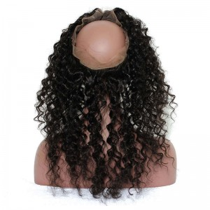360 Lace Frontal Closure Deep Wave Brazilian Virgin Hair Lace Frontal Natural Hairline 22.5*4*2