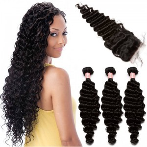 Brazilian Virgin Hair with Closure Deep Wave 3 Bundles with 1 closure Natural Color