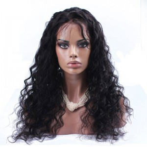 Color 1B Loose Wave Lace Front Wig Brazilian Virgin Human Hair Lace Front Wig