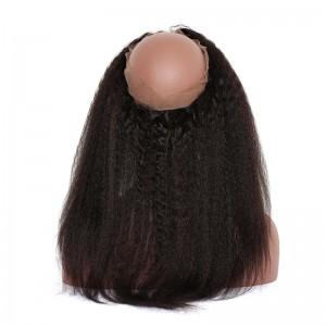360 Lace Fronal Band Brazilian Virgin Hair Kinky Straight Natural Hairline 22.5*4*2