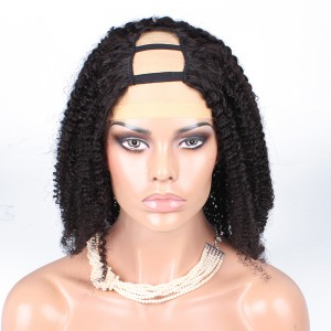 U Part Human Hair Wigs Brazilian Kinky Curly Wig 130% Density Honey Beauty Hair Products