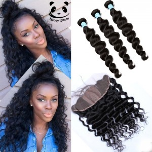 Silk Base Frontal With Bundles 7A Loose Wave Brazilian Virgin Hair With Frontal Closure Bundle Lace Frontal Closure With Bundles