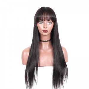 360 lace Frontal Wig With Bang Pre Plucked With Baby Hair Straight Brazilian Lace Human Hair Wig Natural Hair