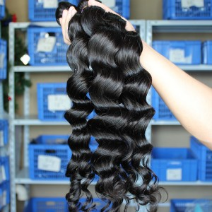 Indian Virgin Human Hair Extensions Weave Loose Wave 4 Bundles Natural Color