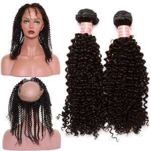360 Lace Frontal Wigs Brazilian Virgin Hair Kinky Curly 360 Circle Lace Frontal With Two Bundles