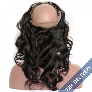 360 Lace Frontal Band Malaysian Virgin Hair Body Wave Lace Frontals With Baby Hair