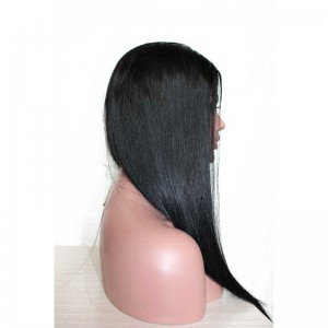 Natural Color Silk Straight 100% Indian Virgin Human Hair Wig Lace Front Wigs