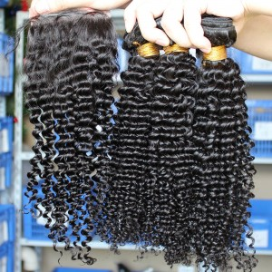Mongolian Virgin Hair Kinky Curly Free Part Lace Closure with 3pcs Weaves