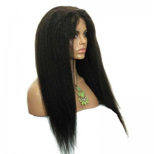 Kinky Straight Full Lace Human Hair Wigs Mongolian Virgin Hair Natural Color