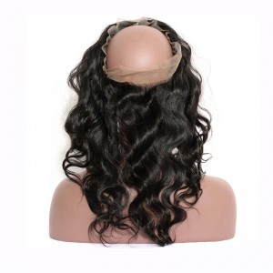 360 Lace Frontal Band Body Wave Brazilian Virgin Hair Lace Frontal Natural Hairline 22.5*4*2