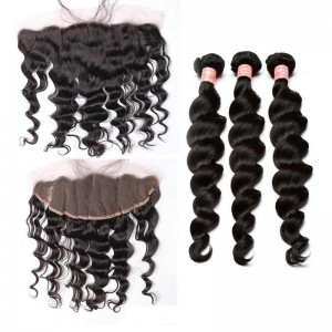 Natural Color Malaysian Virgin Hair Loose Wave Lace Frontal Closure With 3Pcs Hair Weaves