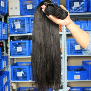 Peruvian Virgin Human Hair Yaki Straight Hair Weave Natural Color 3 Bundles