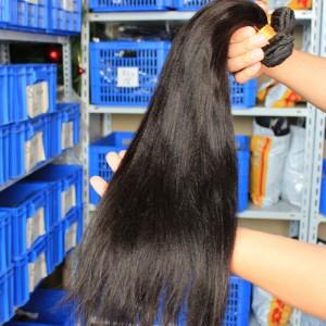 Natural Color Yaki Straight Brazilian Virgin Human Hair Weave 4pcs Bundles
