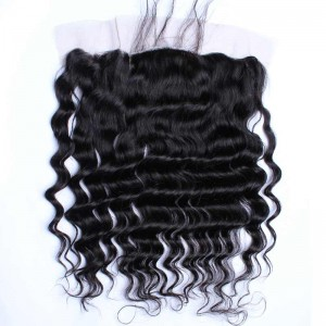 Natural Color Loose Wave Brazilian Virgin Hair Silk Base Lace Frontal Closure 13x4inches