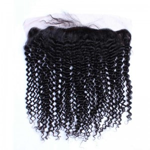 Natural Color Kinky Curly Brazilian Virgin Hair Silk Base Lace Frontal Closure 13x4inches