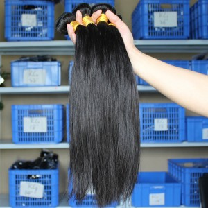 Natural Color Silky Straight Indian Virgin Human Hair Extensions Weave 4 Bundles