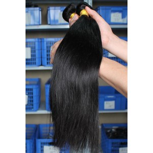 Natural Color Silky Straight Indian Remy Human Hair Extensions Weaves 4 Bundles