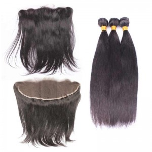 Natural Color Brazilian Virgin Hair Silky Straight Lace Frontal Free Part With 3pcs Weaves
